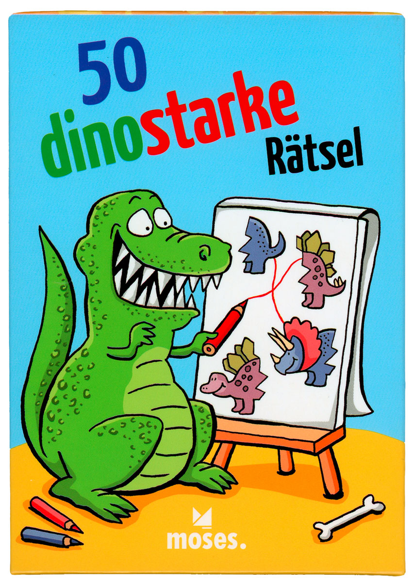 50 funny puzzles with dinosaurs. Set of 50 playing cards for kids, moses Verlag 2020. Coproduction with Ari Plikat.